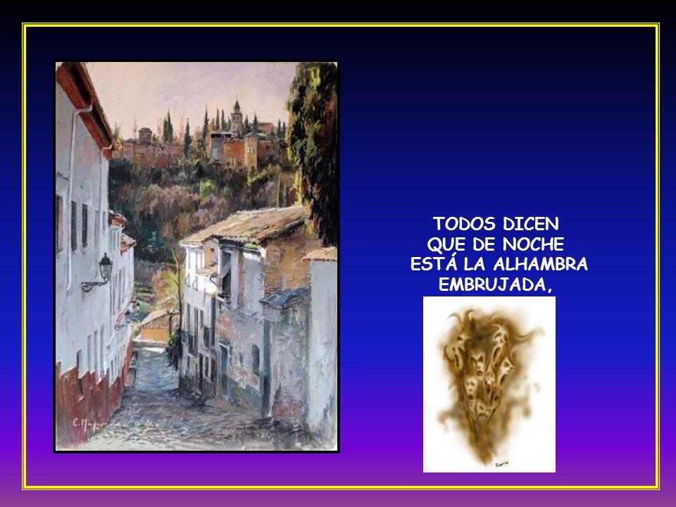 Granada, calle de Elvira, donde viven las manolas, las que se van a la Alhambra, las tres y las cuatro solas.