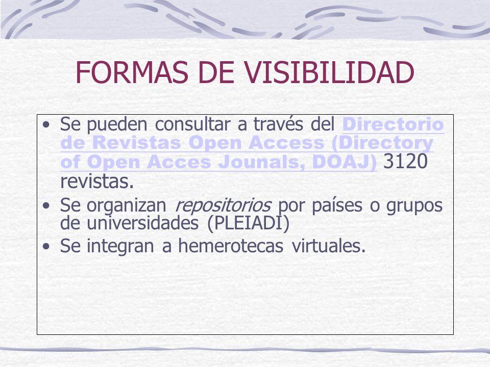 FORMAS DE VISIBILIDAD Se pueden consultar a través del Directorio de Revistas Open Access (Directory of Open Acces Jounals, DOAJ) 3120 revistas. Direc