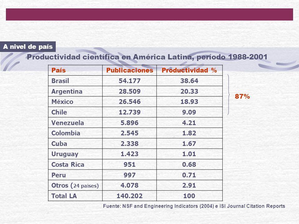 PRIMER ENCUENTRO IBEROAMERICANO DE EDITORES CIENTIFICOS Productividad científica en América Latina, período 1988-2001 Fuente: NSF and Engineering Indi