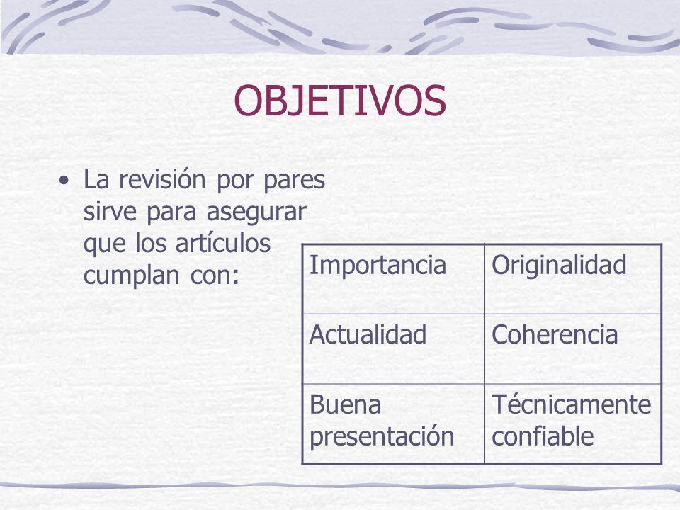 OBJETIVOS La revisión por pares sirve para asegurar que los artículos cumplan con: ImportanciaOriginalidad ActualidadCoherencia Buena presentación Téc
