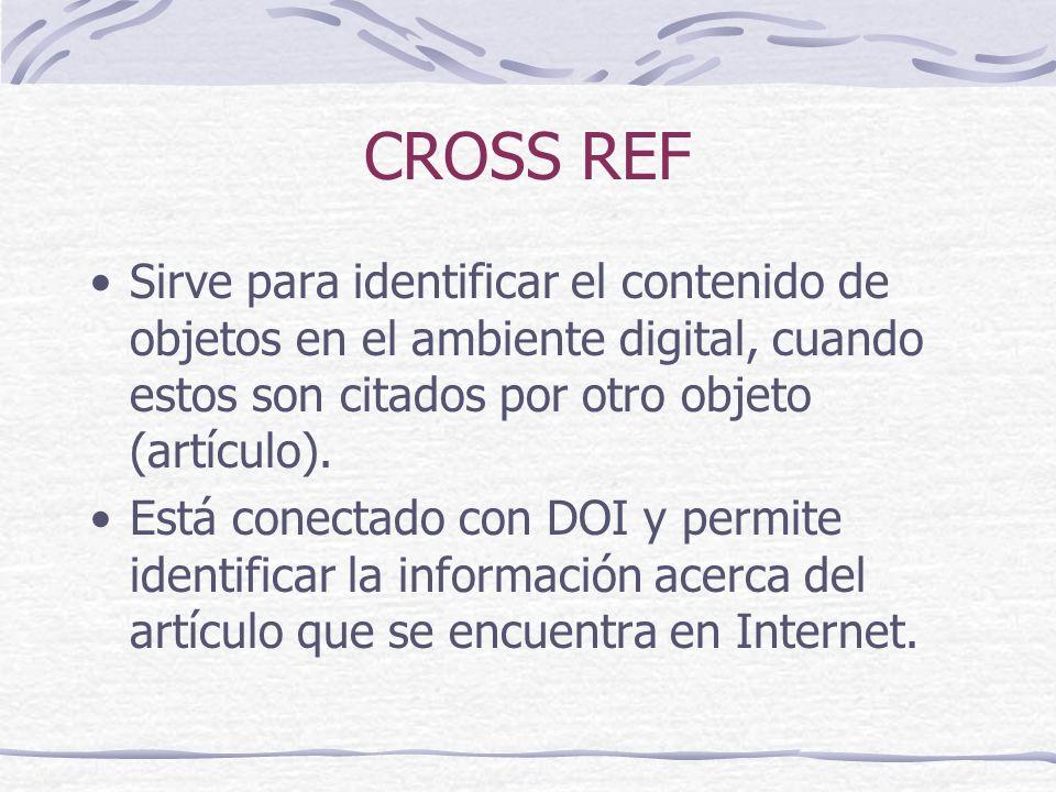CROSS REF Sirve para identificar el contenido de objetos en el ambiente digital, cuando estos son citados por otro objeto (artículo). Está conectado c
