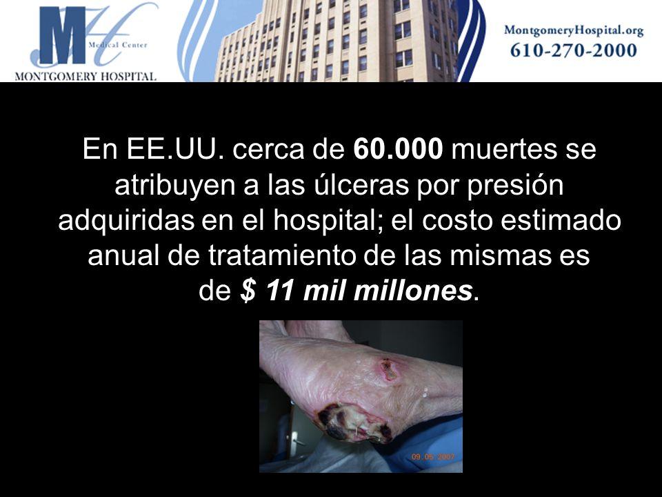 En EE.UU. cerca de 60.000 muertes se atribuyen a las úlceras por presión adquiridas en el hospital; el costo estimado anual de tratamiento de las mism