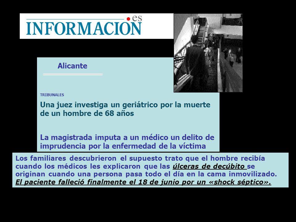 Alicante TRIBUNALES Una juez investiga un geriátrico por la muerte de un hombre de 68 años La magistrada imputa a un médico un delito de imprudencia p