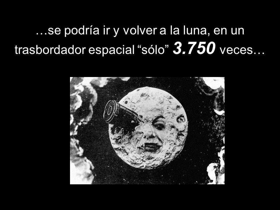 …se podría ir y volver a la luna, en un trasbordador espacial sólo 3.750 veces…