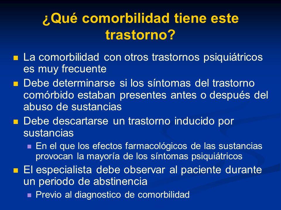 Comorbilidad … Existe un alto grado de comorbilidad con el Trastorno de Conducta Un 60% cumple criterios diagnósticos También con el Trastorno por Déficit de Atención con Hiperactividad Probablemente sea debida al alto grado de comorbilidad de ambos trastornos con el Trastorno de Conducta