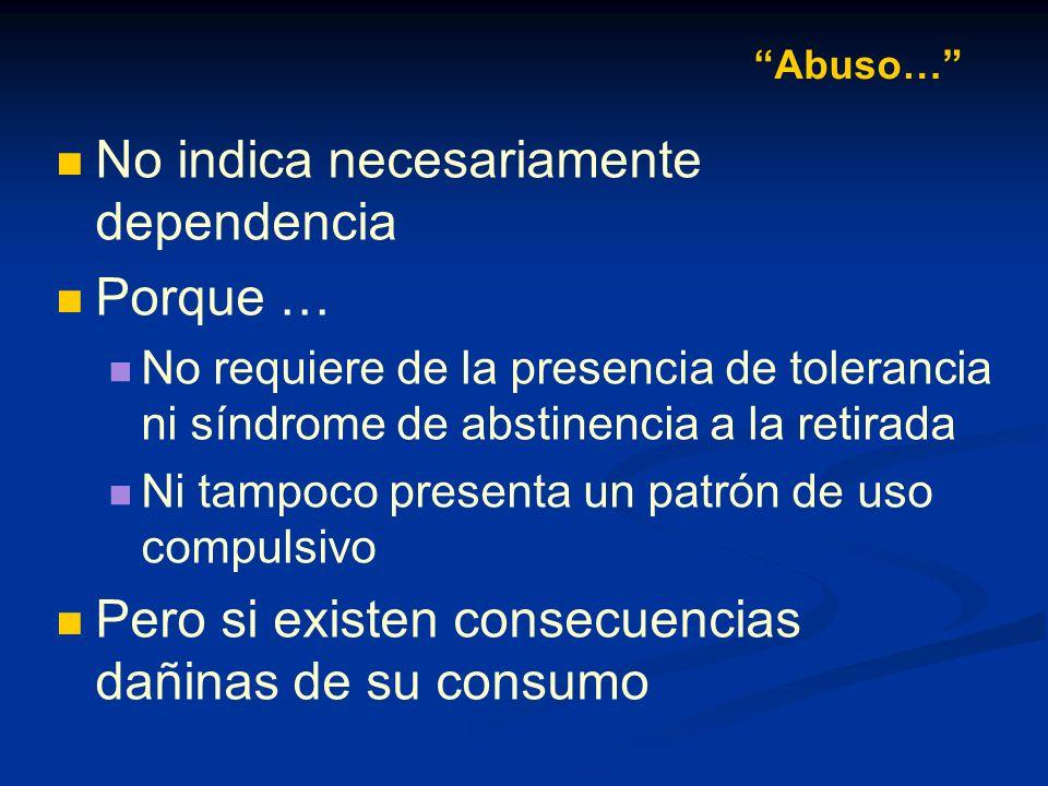 Se ha diferenciar el uso del abuso de sustancias El uso de sustancias es un preludio necesario para el abuso Pero por sí solo no es suficiente para un diagnóstico de abuso Abuso…