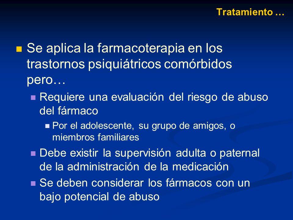 Se aplica la farmacoterapia en los trastornos psiquiátricos comórbidos pero… Requiere una evaluación del riesgo de abuso del fármaco Por el adolescent