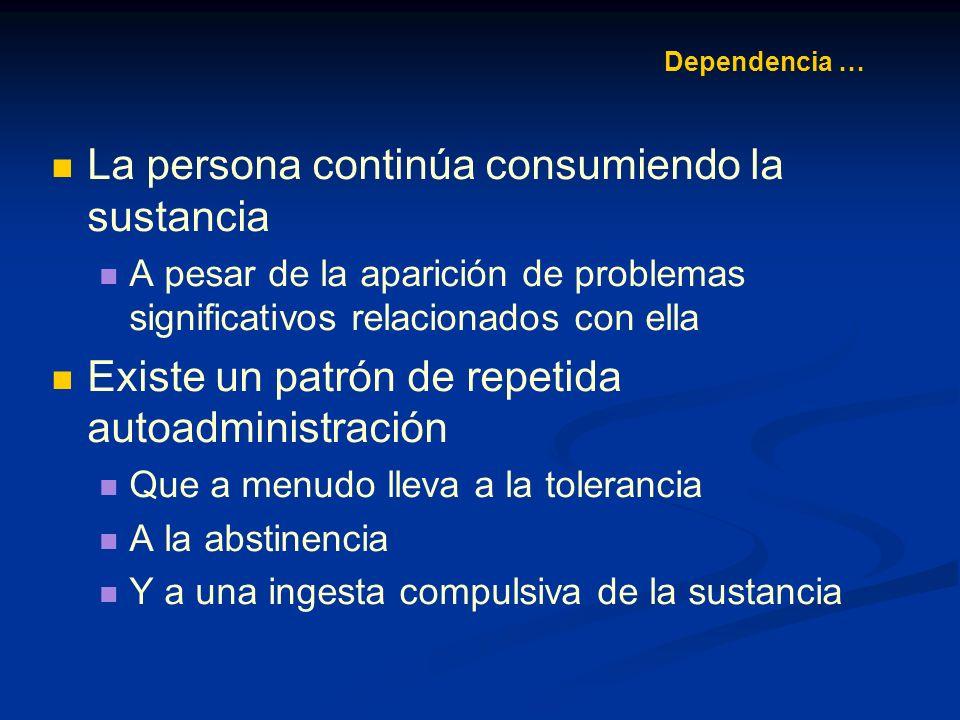 Dependencia … Los adolescentes a menudo muestran tolerancia No suelen padecer síndromes de abstinencia u otros síntomas de dependencia fisiológica
