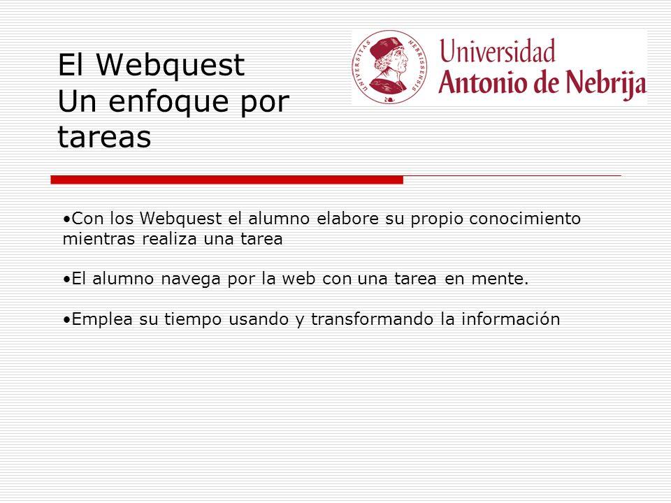 El Webquest Un enfoque por tareas Con los Webquest el alumno elabore su propio conocimiento mientras realiza una tarea El alumno navega por la web con una tarea en mente.