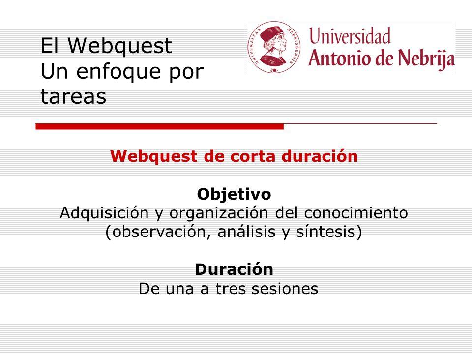 El Webquest Un enfoque por tareas Webquest de corta duración Objetivo Adquisición y organización del conocimiento (observación, análisis y síntesis) Duración De una a tres sesiones