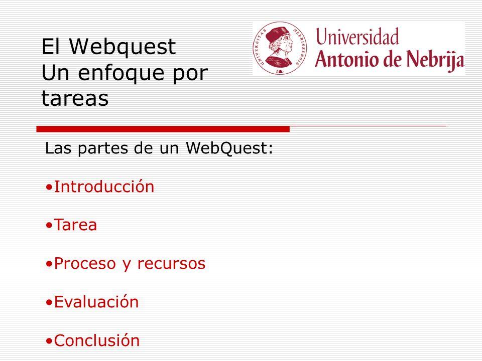 El Webquest Un enfoque por tareas Las partes de un WebQuest: Introducción Tarea Proceso y recursos Evaluación Conclusión