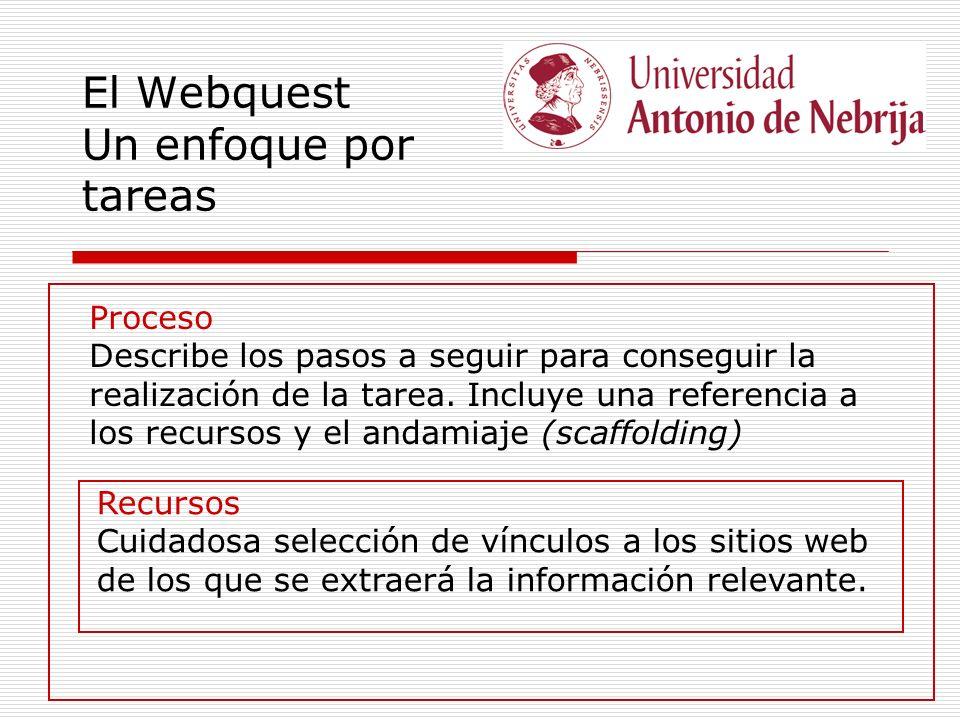 El Webquest Un enfoque por tareas Proceso Describe los pasos a seguir para conseguir la realización de la tarea. Incluye una referencia a los recursos