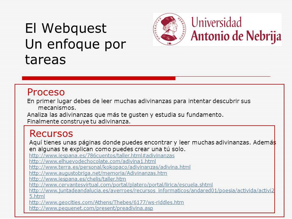 El Webquest Un enfoque por tareas Proceso En primer lugar debes de leer muchas adivinanzas para intentar descubrir sus mecanismos. Analiza las adivina