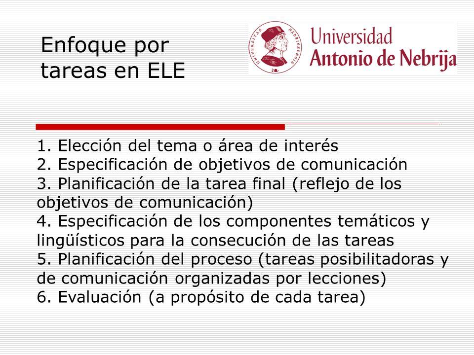 Enfoque por tareas en ELE 1. Elección del tema o área de interés 2. Especificación de objetivos de comunicación 3. Planificación de la tarea final (re