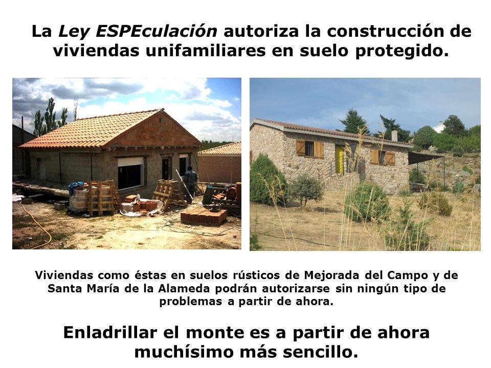 La Ley ESPEculación autoriza la construcción de viviendas unifamiliares en suelo protegido.