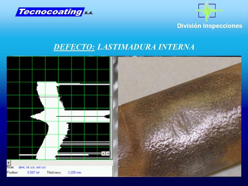 División Inspecciones DEFECTO: LASTIMADURA INTERNA