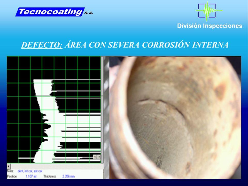 División Inspecciones DEFECTO: ÁREA CON SEVERA CORROSIÓN INTERNA