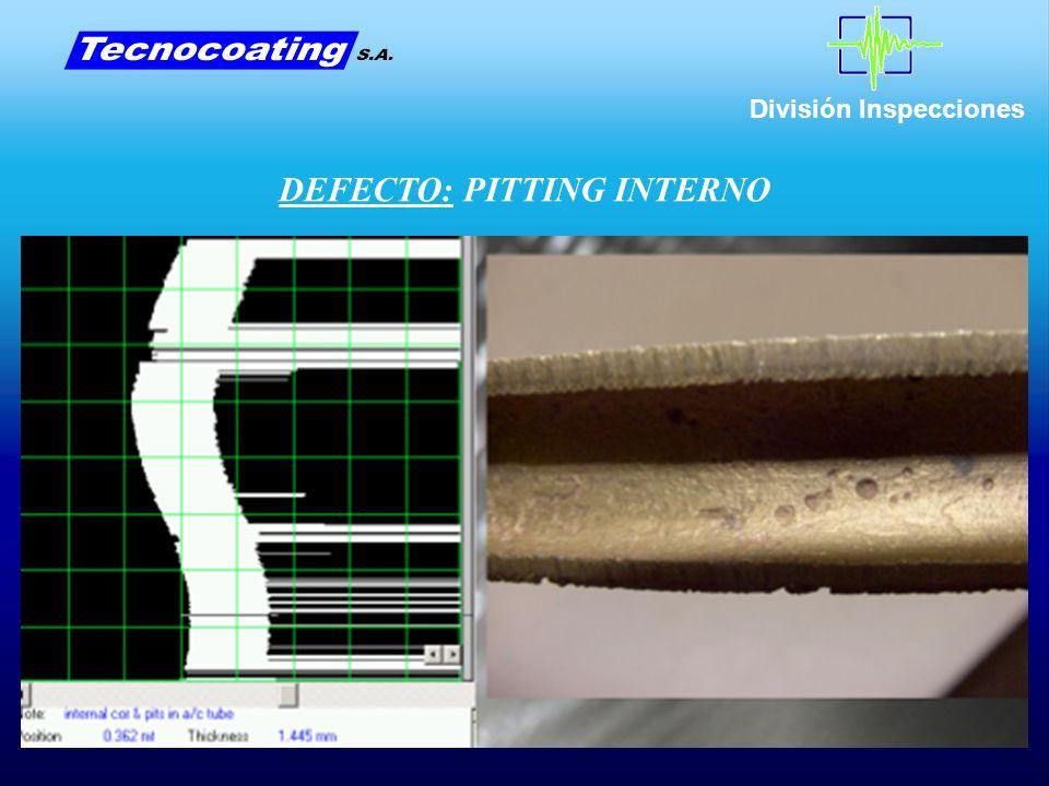 División Inspecciones DEFECTO: PITTING INTERNO