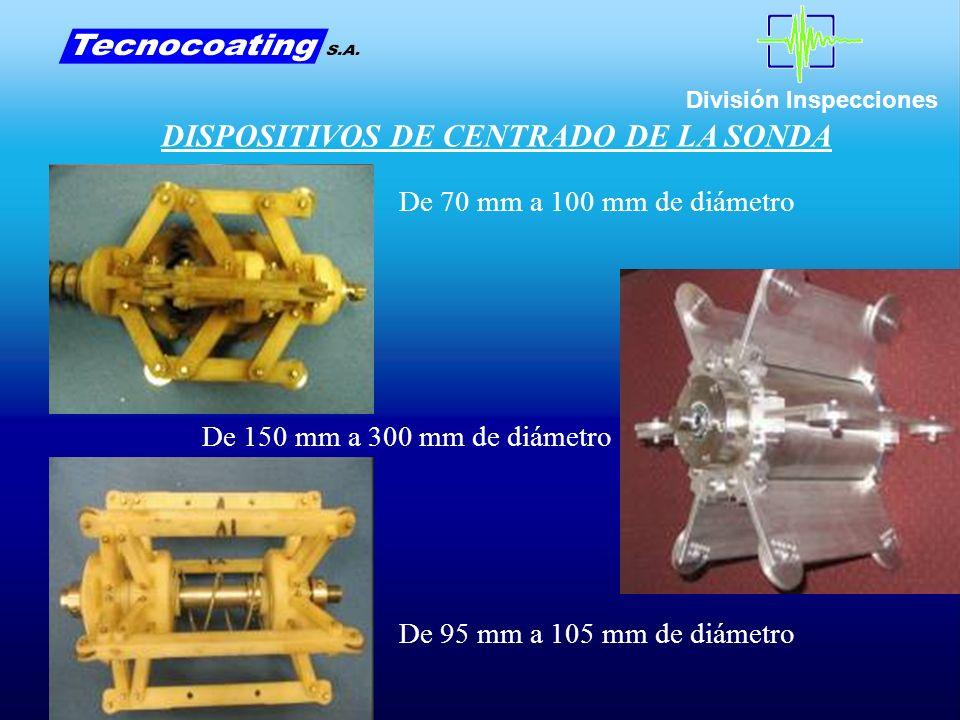División Inspecciones DISPOSITIVOS DE CENTRADO DE LA SONDA De 70 mm a 100 mm de diámetro De 95 mm a 105 mm de diámetro De 150 mm a 300 mm de diámetro
