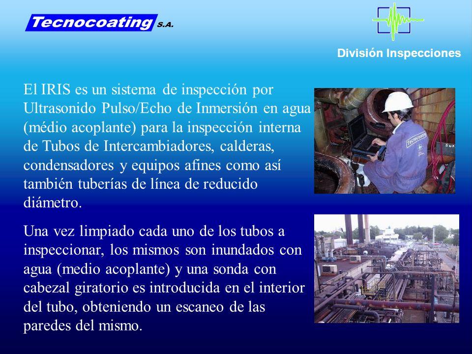 El IRIS es un sistema de inspección por Ultrasonido Pulso/Echo de Inmersión en agua (médio acoplante) para la inspección interna de Tubos de Intercambiadores, calderas, condensadores y equipos afines como así también tuberías de línea de reducido diámetro.
