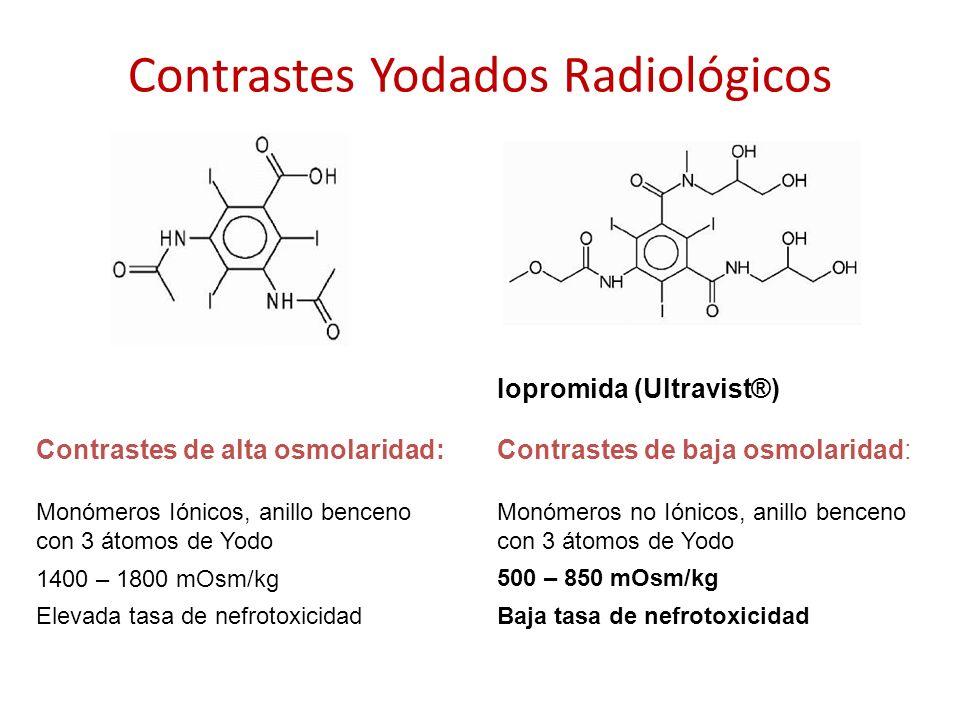 Contrastes Yodados Radiológicos Contrastes de alta osmolaridad: Monómeros Iónicos, anillo benceno con 3 átomos de Yodo 1400 – 1800 mOsm/kg Elevada tas
