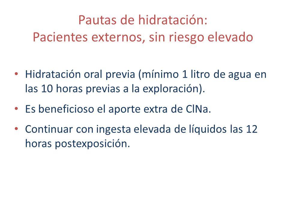 Pautas de hidratación: Pacientes externos, sin riesgo elevado Hidratación oral previa (mínimo 1 litro de agua en las 10 horas previas a la exploración