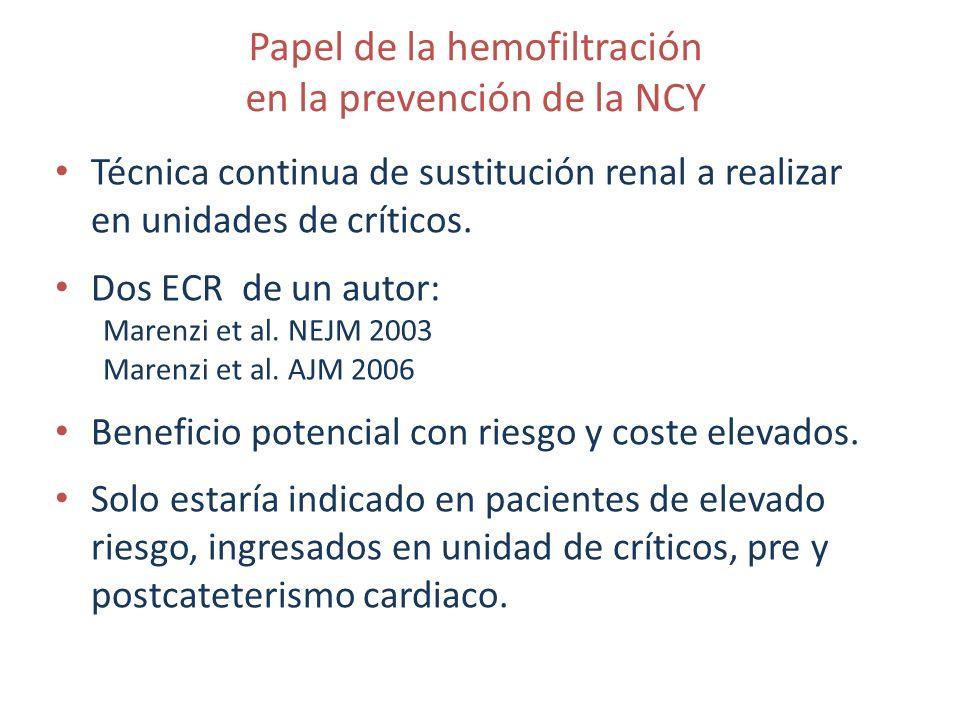 Papel de la hemofiltración en la prevención de la NCY Técnica continua de sustitución renal a realizar en unidades de críticos. Dos ECR de un autor: M