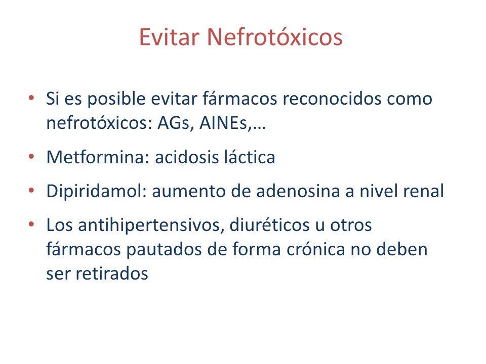 Evitar Nefrotóxicos Si es posible evitar fármacos reconocidos como nefrotóxicos: AGs, AINEs,… Metformina: acidosis láctica Dipiridamol: aumento de ade