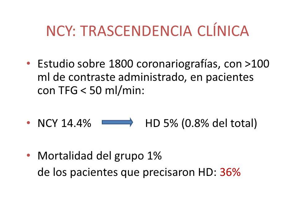 NCY: TRASCENDENCIA CLÍNICA Estudio sobre 1800 coronariografías, con >100 ml de contraste administrado, en pacientes con TFG < 50 ml/min: NCY 14.4%HD 5