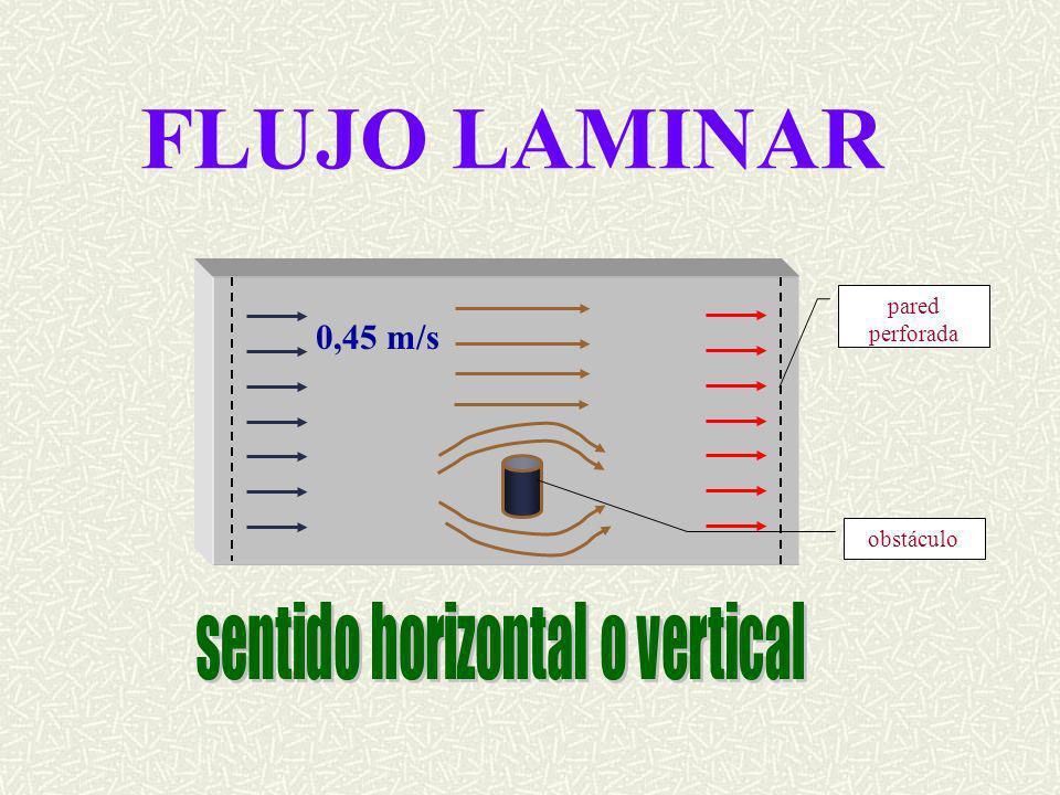 FLUJO LAMINAR obstáculo pared perforada 0,45 m/s