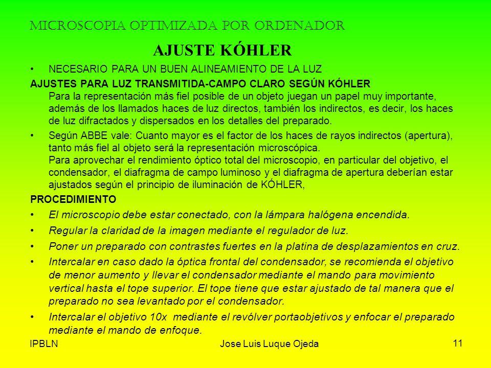 IPBLNJose Luis Luque Ojeda 11 MICROSCOPIA OPTIMIZADA POR ORDENADOR NECESARIO PARA UN BUEN ALINEAMIENTO DE LA LUZ AJUSTES PARA LUZ TRANSMITIDA-CAMPO CL