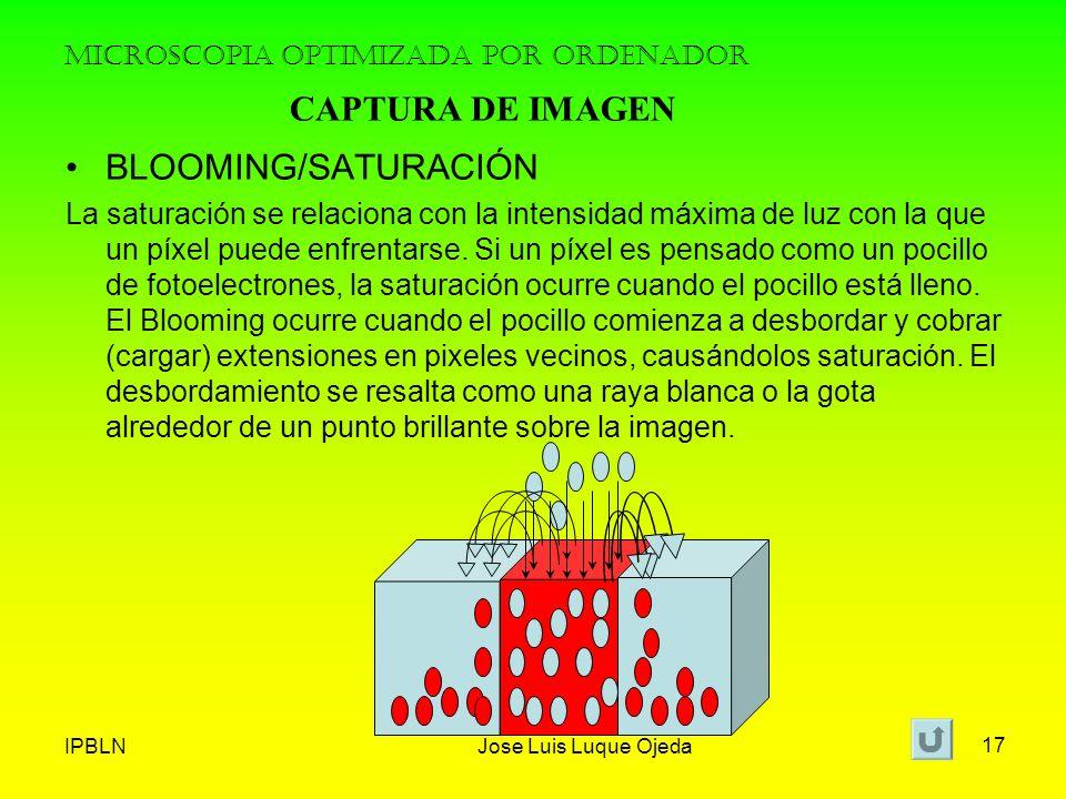IPBLNJose Luis Luque Ojeda 17 MICROSCOPIA OPTIMIZADA POR ORDENADOR BLOOMING/SATURACIÓN La saturación se relaciona con la intensidad máxima de luz con