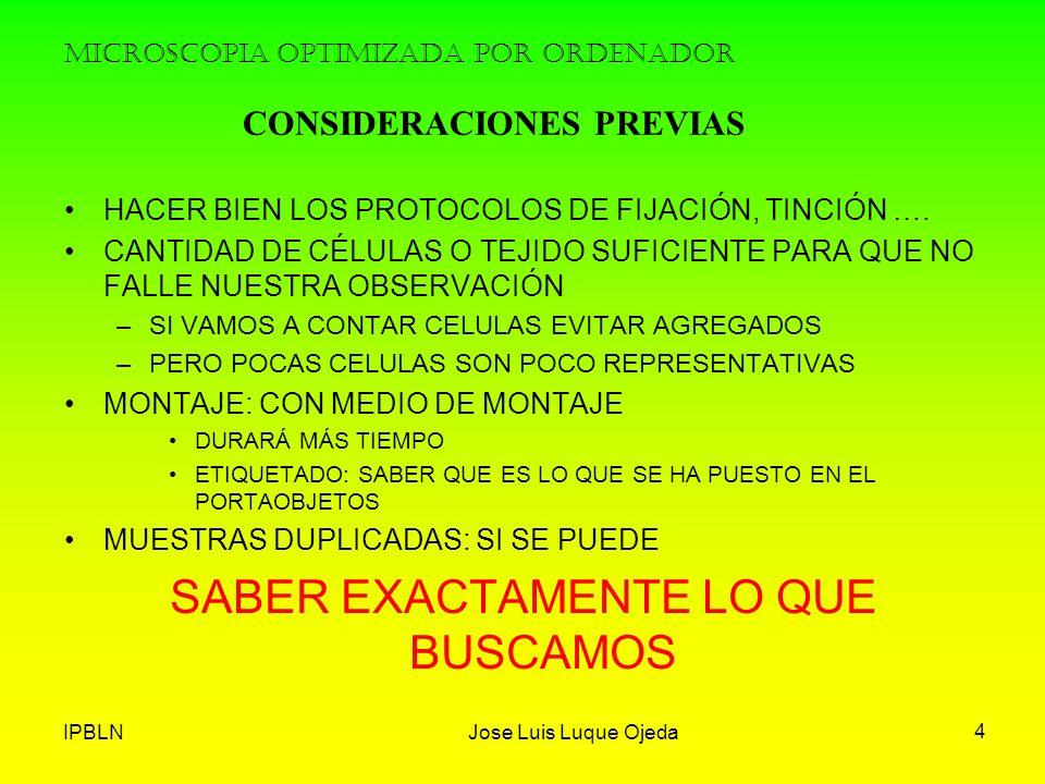 IPBLNJose Luis Luque Ojeda 4 MICROSCOPIA OPTIMIZADA POR ORDENADOR HACER BIEN LOS PROTOCOLOS DE FIJACIÓN, TINCIÓN …. CANTIDAD DE CÉLULAS O TEJIDO SUFIC