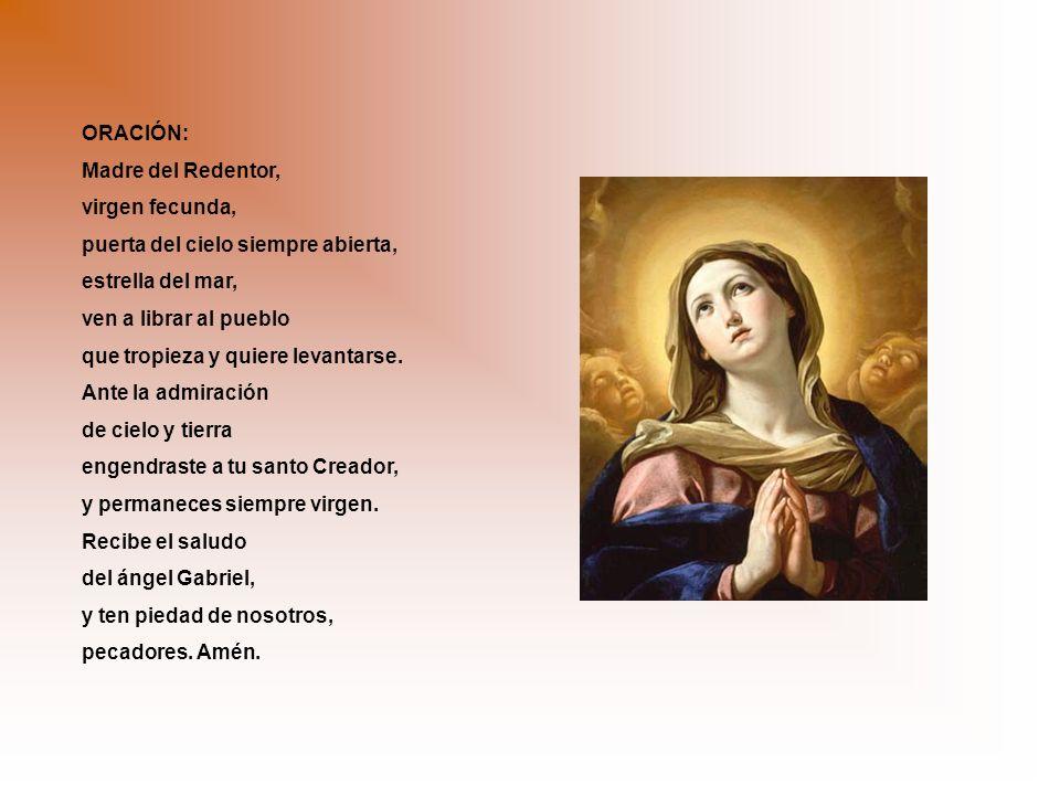 ORACIÓN: Madre del Redentor, virgen fecunda, puerta del cielo siempre abierta, estrella del mar, ven a librar al pueblo que tropieza y quiere levantarse.