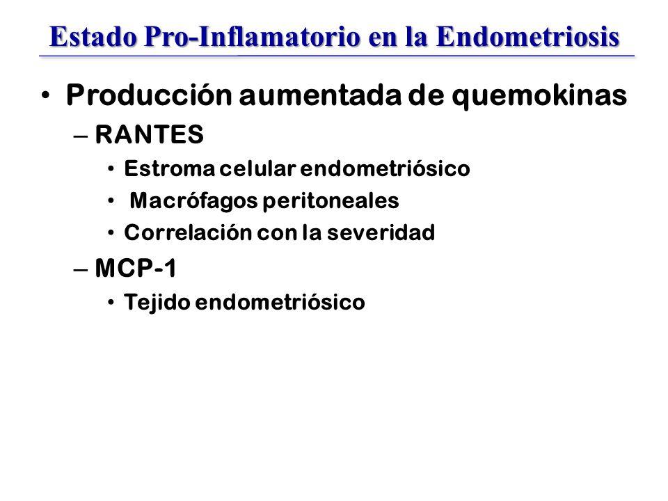 Estado Pro-Inflamatorio en la Endometriosis Producción aumentada de quemokinas – RANTES Estroma celular endometriósico Macrófagos peritoneales Correlación con la severidad – MCP-1 Tejido endometriósico