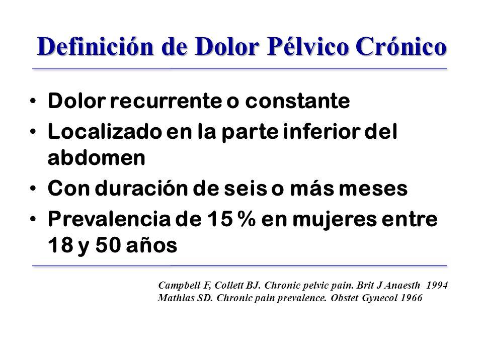 Definición de Dolor Pélvico Crónico Dolor recurrente o constante Localizado en la parte inferior del abdomen Con duración de seis o más meses Prevalencia de 15 % en mujeres entre 18 y 50 años Campbell F, Collett BJ.