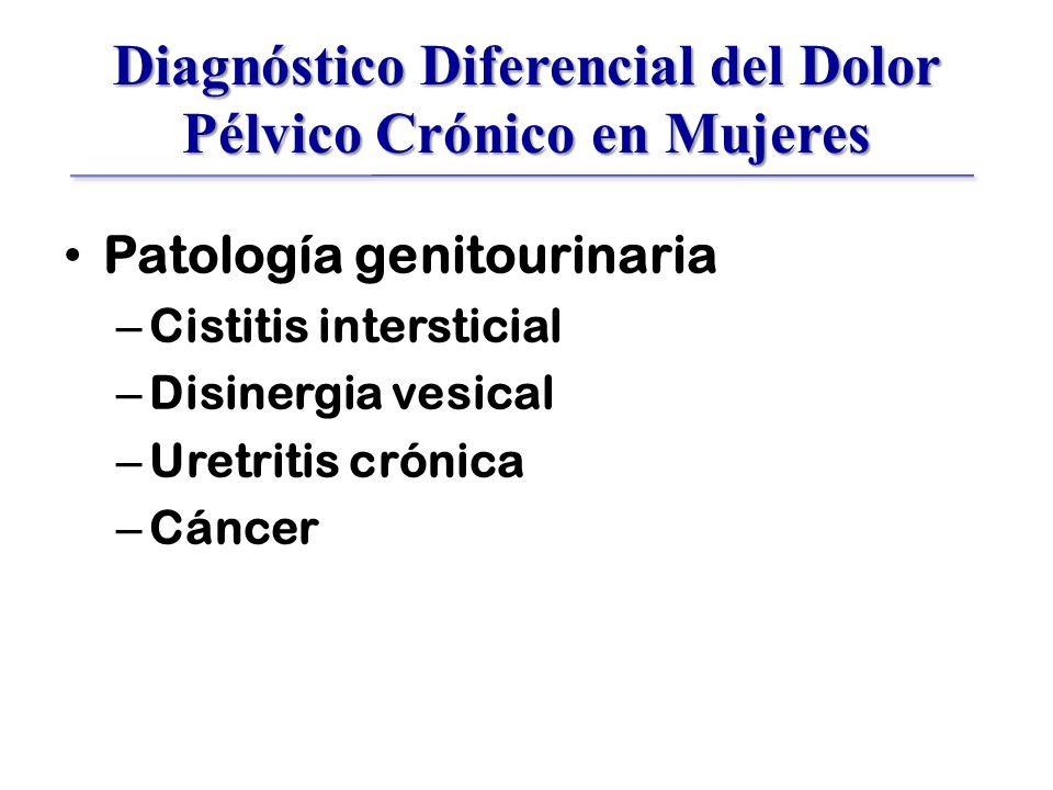 Diagnóstico Diferencial del Dolor Pélvico Crónico en Mujeres Patología genitourinaria – Cistitis intersticial – Disinergia vesical – Uretritis crónica – Cáncer