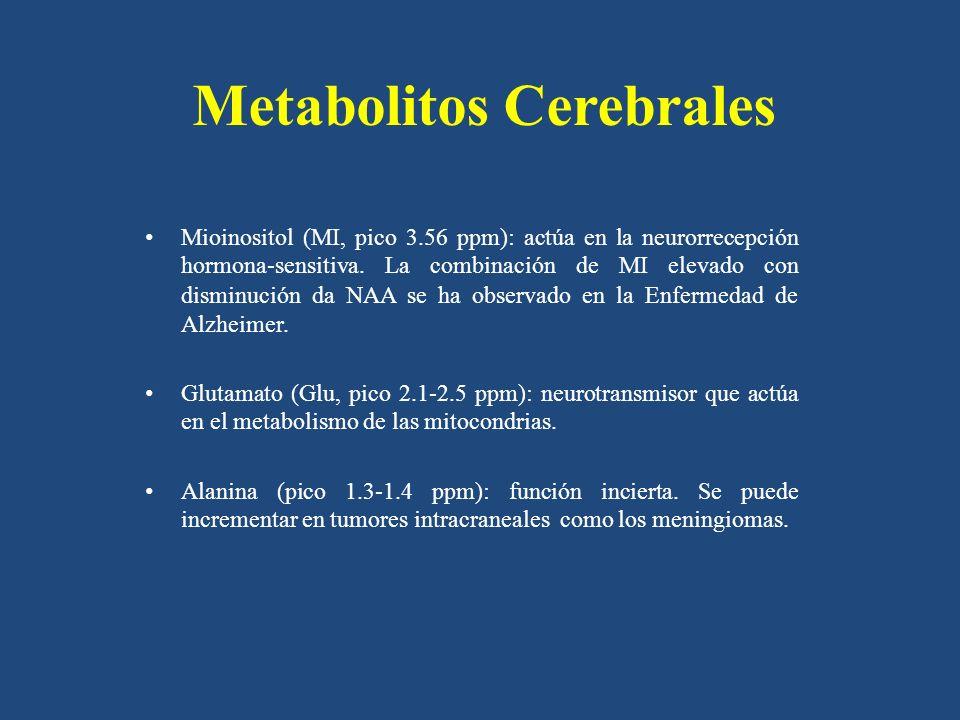 Metabolitos Cerebrales Mioinositol (MI, pico 3.56 ppm): actúa en la neurorrecepción hormona-sensitiva. La combinación de MI elevado con disminución da