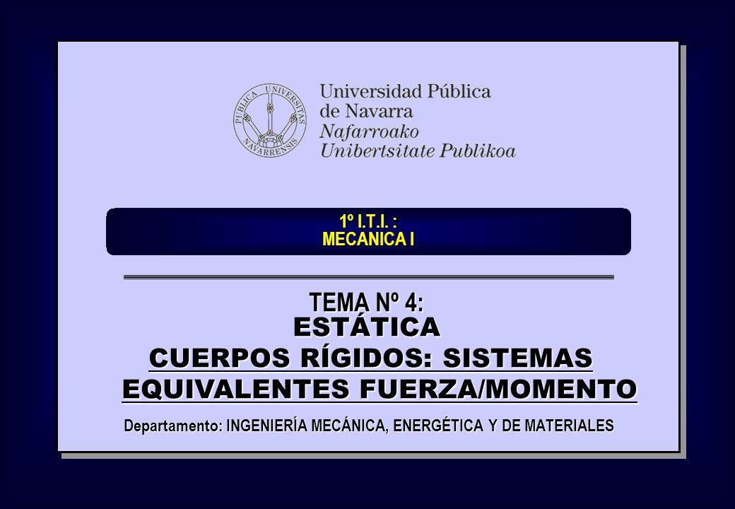 1º I.T.I. : MECANICA I Departamento: INGENIERÍA MECÁNICA, ENERGÉTICA Y DE MATERIALES TEMA Nº 4: ESTÁTICA CUERPOS RÍGIDOS: SISTEMAS EQUIVALENTES FUERZA