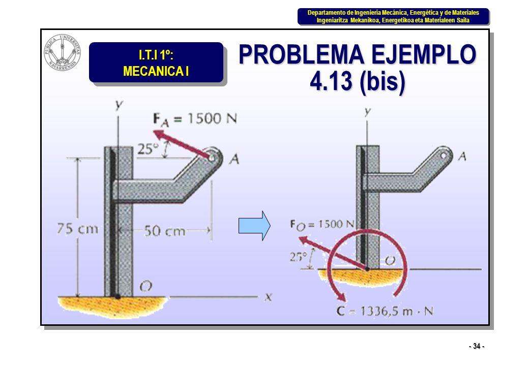 I.T.I 1º: MECANICA I Departamento de Ingeniería Mecánica, Energética y de Materiales Ingeniaritza Mekanikoa, Energetikoa eta Materialeen Saila Departa