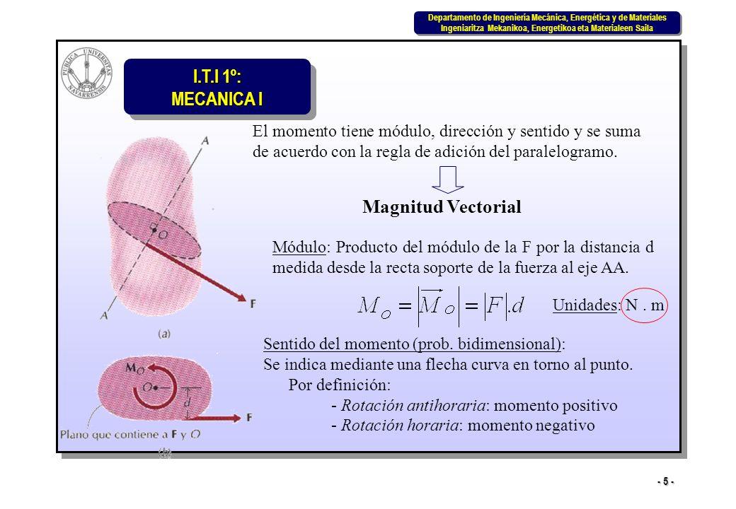 I.T.I 1º: MECANICA I Departamento de Ingeniería Mecánica, Energética y de Materiales Ingeniaritza Mekanikoa, Energetikoa eta Materialeen Saila Departamento de Ingeniería Mecánica, Energética y de Materiales Ingeniaritza Mekanikoa, Energetikoa eta Materialeen Saila - 16 - Consideremos 1º el momento M O respecto del origen de coordenadas de una fuerza F contenida en el plano xy: r = r x i + r y j F = F x i + F y j i j k r x r y 0 F x F y 0 = (r x F y – r y F x ) k = M z k * M O es perpendicular al plano xy (según eje z) * - M O positivo (sentido antihorario) * - M O negativo (sentido horario) Caso bidimensional M O = r x F =