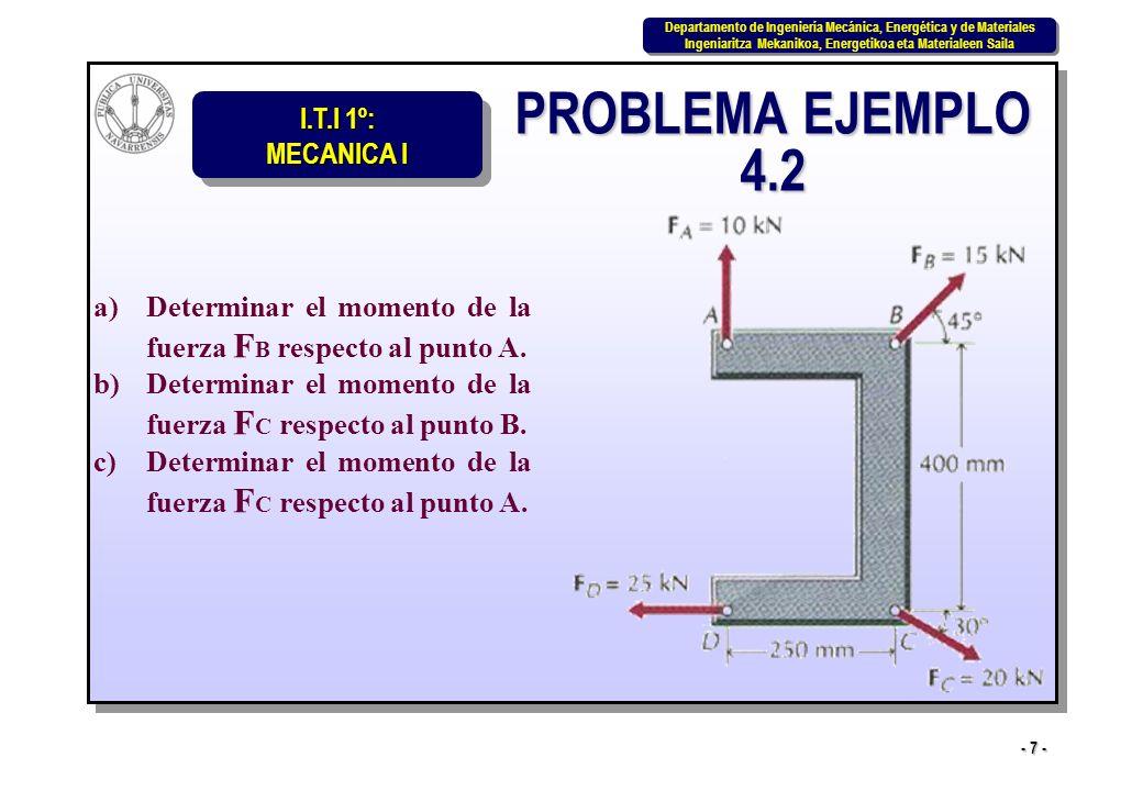 I.T.I 1º: MECANICA I Departamento de Ingeniería Mecánica, Energética y de Materiales Ingeniaritza Mekanikoa, Energetikoa eta Materialeen Saila Departamento de Ingeniería Mecánica, Energética y de Materiales Ingeniaritza Mekanikoa, Energetikoa eta Materialeen Saila - 18 - PROBLEMA EJEMPLO 4.7 Determinar los momentos de las distintas fuerzas respecto al origen O del sistema de coordenadas xy.