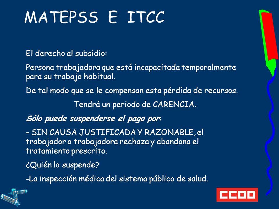 MATEPSS E ITCC El derecho al subsidio: Persona trabajadora que está incapacitada temporalmente para su trabajo habitual.