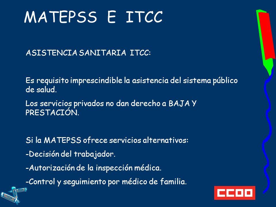 MATEPSS E ITCC ASISTENCIA SANITARIA ITCC: Es requisito imprescindible la asistencia del sistema público de salud.