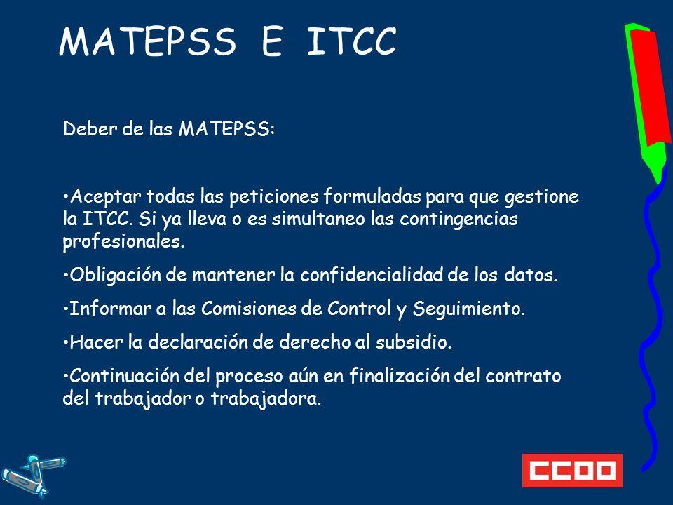 MATEPSS E ITCC Deber de las MATEPSS: Aceptar todas las peticiones formuladas para que gestione la ITCC.