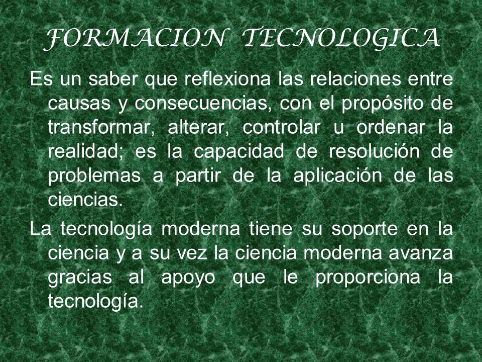 FORMACION TECNOLOGICA Es un saber que reflexiona las relaciones entre causas y consecuencias, con el propósito de transformar, alterar, controlar u ordenar la realidad; es la capacidad de resolución de problemas a partir de la aplicación de las ciencias.