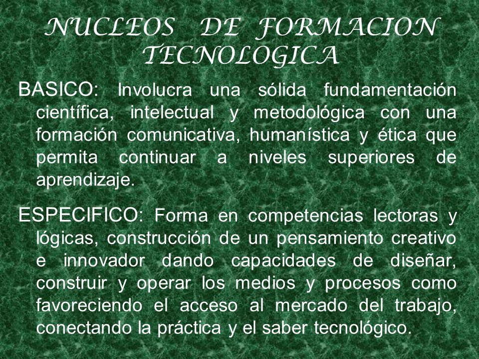 NUCLEOS DE FORMACION TECNOLOGICA BASICO: Involucra una sólida fundamentación científica, intelectual y metodológica con una formación comunicativa, humanística y ética que permita continuar a niveles superiores de aprendizaje.