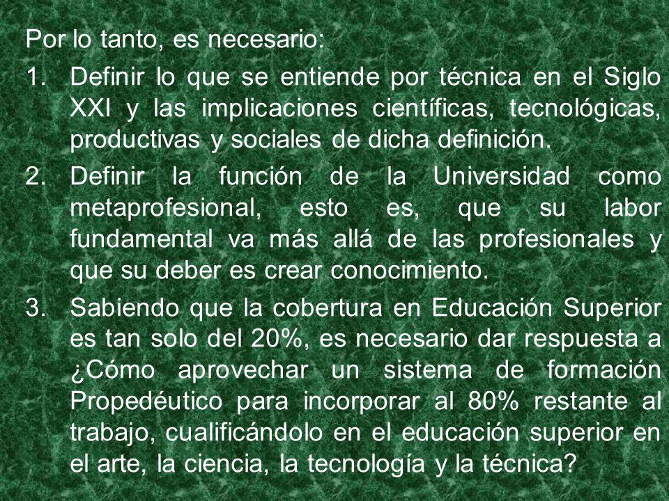 Por lo tanto, es necesario: 1.Definir lo que se entiende por técnica en el Siglo XXI y las implicaciones científicas, tecnológicas, productivas y sociales de dicha definición.