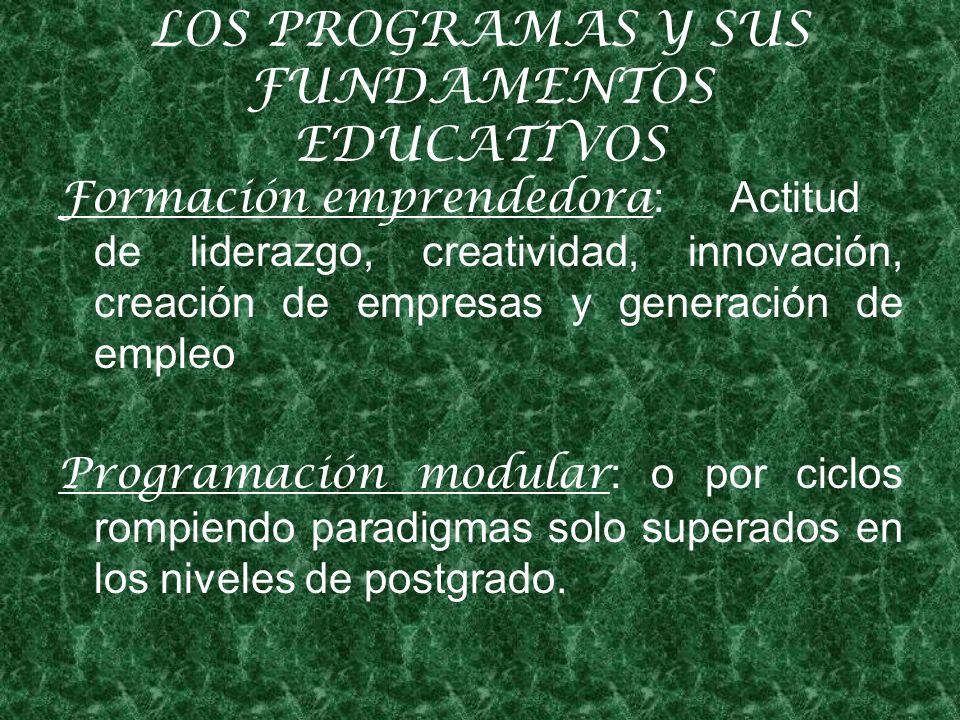 LOS PROGRAMAS Y SUS FUNDAMENTOS EDUCATIVOS Formación emprendedora : Actitud de liderazgo, creatividad, innovación, creación de empresas y generación de empleo Programación modular : o por ciclos rompiendo paradigmas solo superados en los niveles de postgrado.