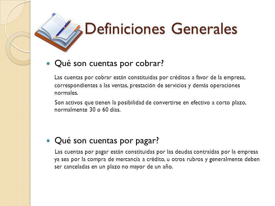 Definiciones Generales Qué son cuentas por cobrar? Las cuentas por cobrar están constituidas por créditos a favor de la empresa, correspondientes a la